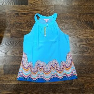 NWT Lilly Pulitzer Rogan Top Shorely Blue Size S